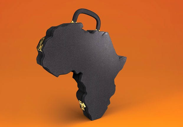 suitcase shaped like Africa continent