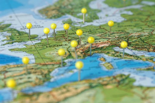 Photograph. The Lawyer. Pins in a Map of Europe. Brexit means growth in London is far from reliable for law firms. Is it time for Europe to take more of a leading role?