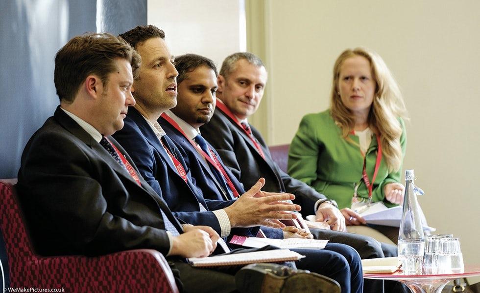 Tom Sermon, Wells Fargo; Elliot Wiseman, Paysafe Group; Akber Datoo, D2Legal Technology; David Kemp, Schroders; Alexandria Sjoman, Berenberg
