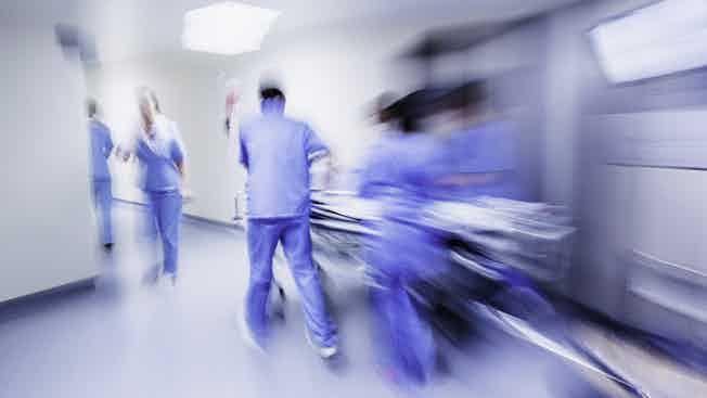 Blurred emergency in hospital