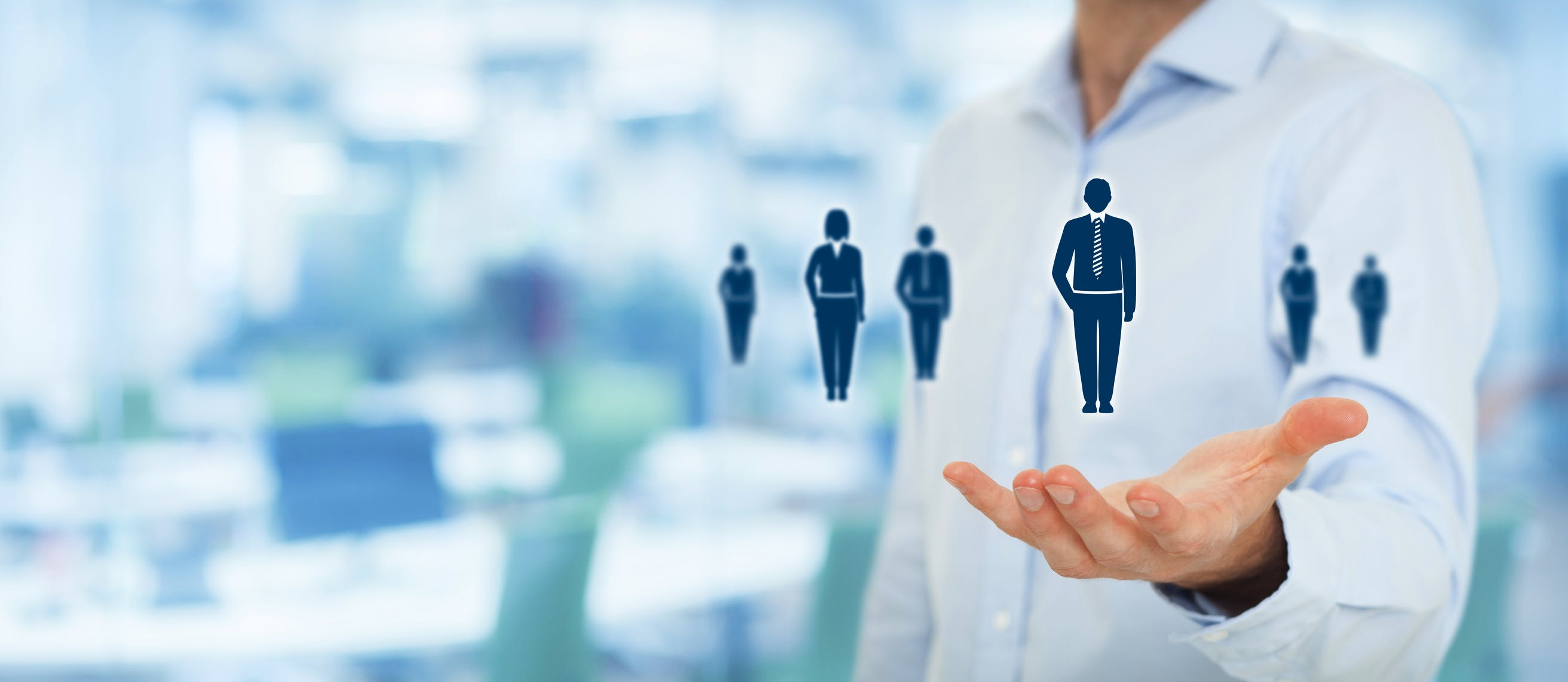 Human resources pool, customer care, care for employees, labor union, employment agency and marketing segmentation concepts. Gesture of businessman or personnel and icons representing group of people. Wide banner composition with office in background.