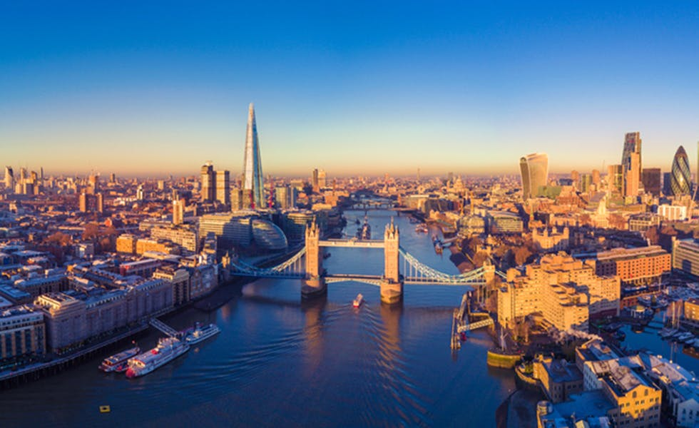 Picture of Aerial panoramic cityscape view of London and the River Thames, England, UK to illustrate top US law firms London 2017