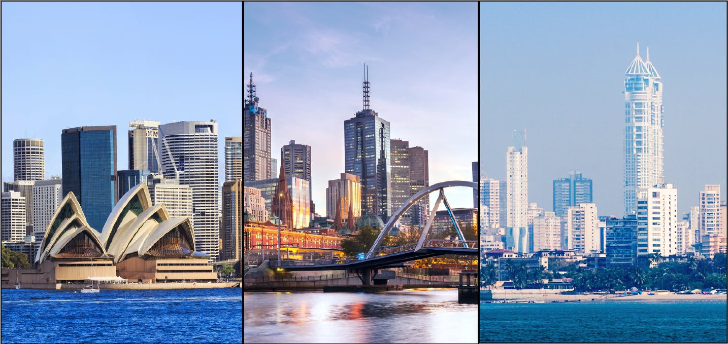 Three views of cities in the Asia-Pacific region