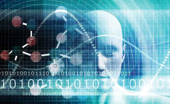 Picture showing data streams over robotic head to illustrate legal tech experts and law firm technology