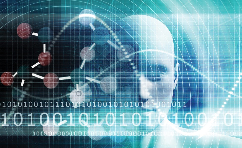Picture showing data streams over robotic head to illustrate legal tech professionals and law firm technology