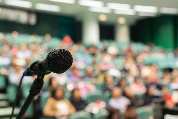 public speaker, speaking, podium, conference, lecture