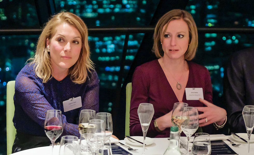 Ingrid Cope and Clare Bates, lawyers and business ethics, GC2B roundtable
