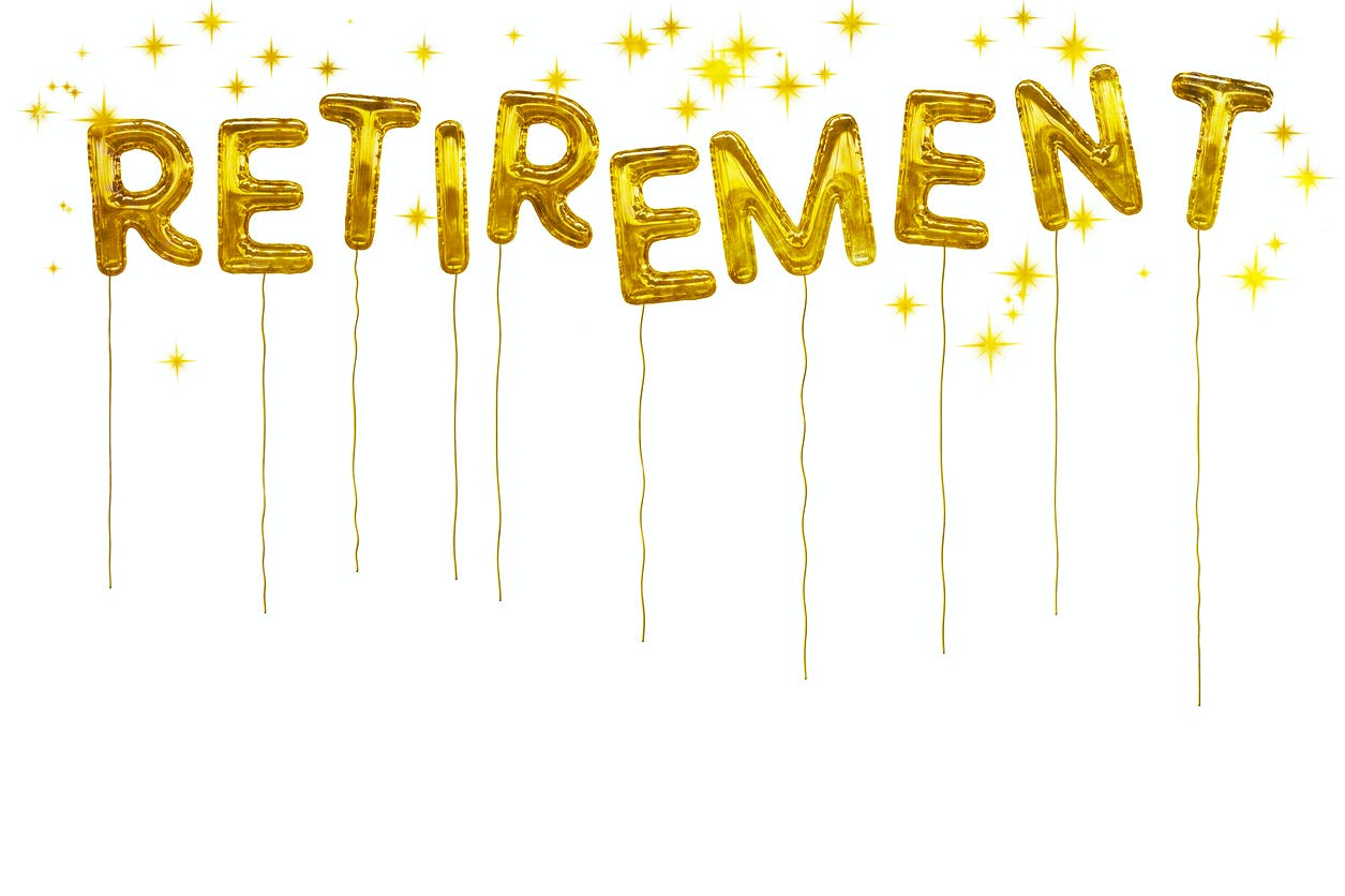 Picture of party balloons spelling 'retirement', to illustrate partner retirement assistance feature