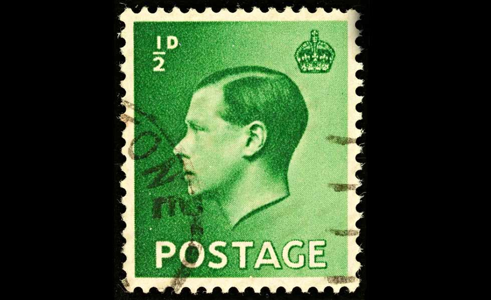 King Edward VIII, profile on stamp