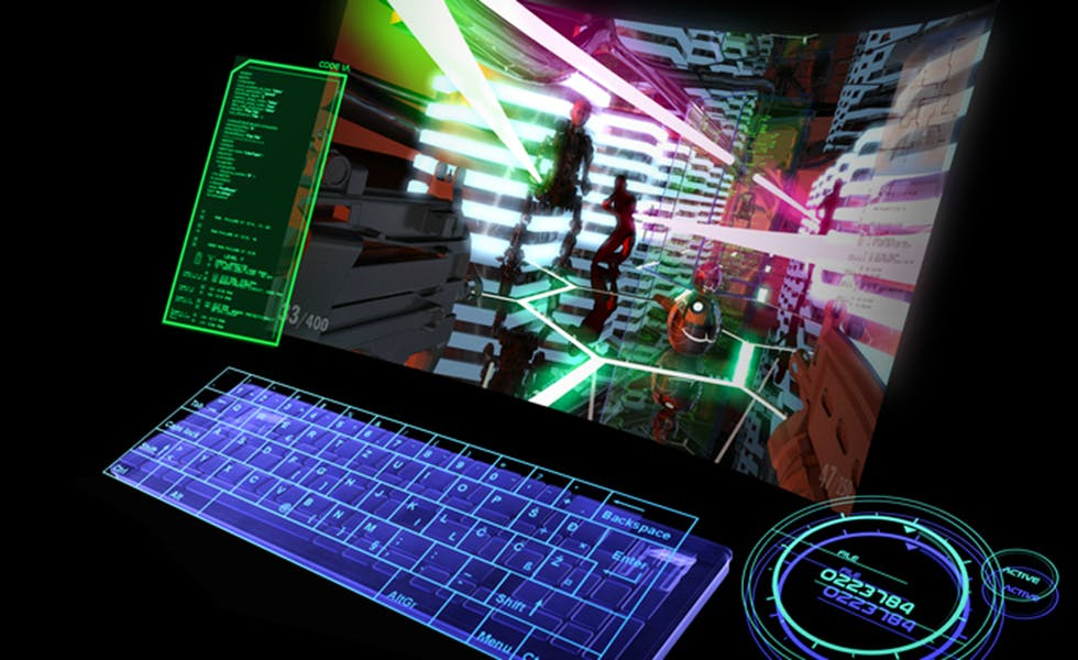Digital keyboard and curved virtual screen on black background. New generation virtual game computer.