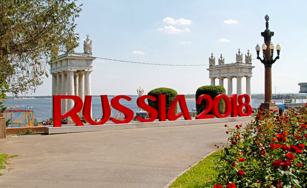 "Volgograd, Russia - July 28, 2017: Installation of the inscription ""Russia 2018"" mounted on the Central promenade of Volgograd which will host FIFA World Cup in Russia"