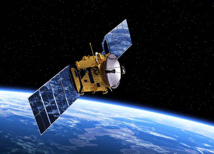Communication Satellite Orbiting Earth