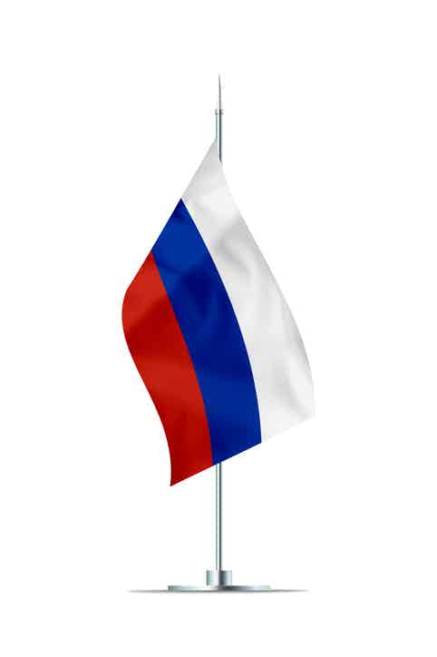 Small Flag of Russia on a Metal Pole