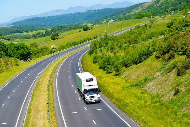 road, countryside, lorry, motorway
