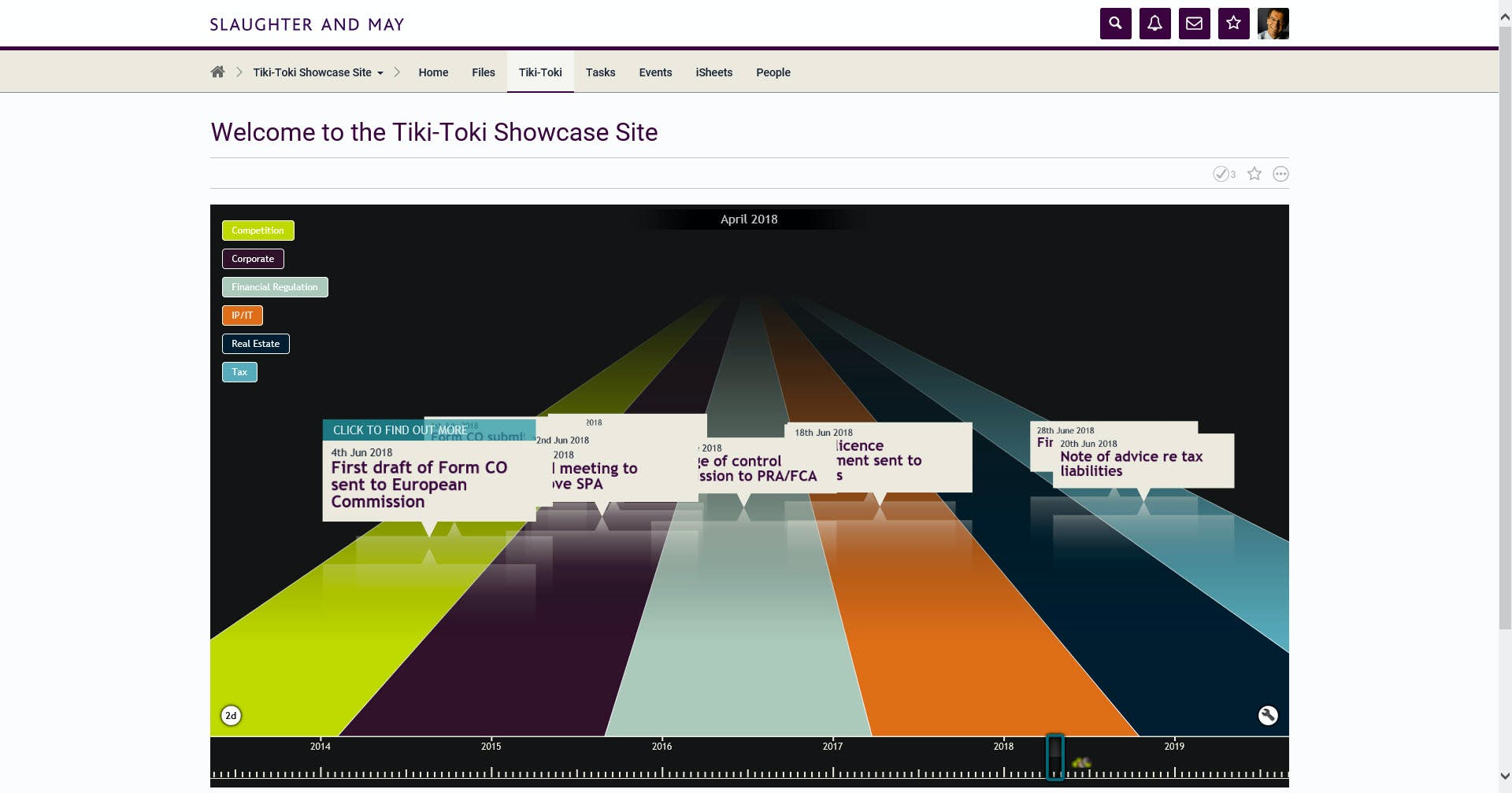 View of landing page that Slaughters and May clients see when using the tiki-toki app