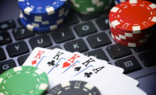 Betting chips and playing cards-gambling industry