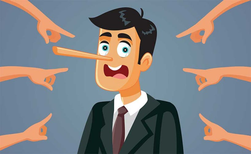 Lying businessman to denote reputation management