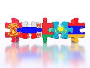 Puzzle - Symbol of the Eurasian Customs Union (EACU). Economic Union countries: Russia, Belarus, Kazakhstan, Armenia, Kyrgyzstan